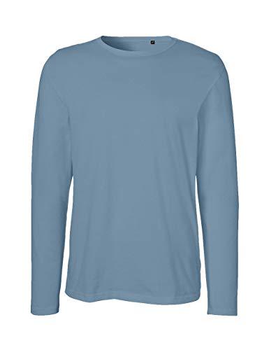 Green Cat Camiseta de manga larga para hombre, 100% algodón orgánico. Certificado de comercio justo, Oeko-Tex y Ecolabel. añil XXL