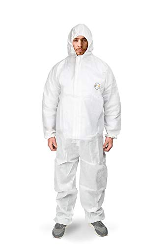 Disposable Coveralls with Hood Protective Suit, Microporous, Elastic Wrist, Bootie White (4, Large)