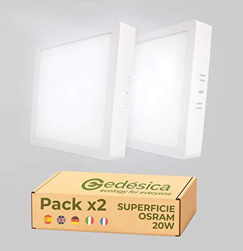 PACK X2, Lamparas de techo, Plafon Led techo, 20W 2480LM diámetro 210mm cuadrado downlight led techo, Dormitorio, Salon, Pasillo, Baños, Cocinas, Clase eficiencia energetica A++(6500K-luz blanca fría)