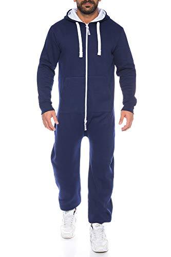 Raff & Taff Herren Jumpsuit Overall Trainingsanzug Fitnessbekleidung Onesie Ganzkörperanzug Basic und Schlicht (Nevi, S)