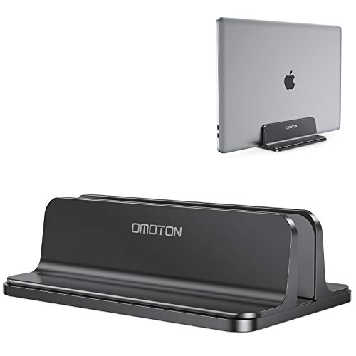 Vertical Laptop Stand [Adjustable Size], OMOTON Desktop Aluminum MacBook Stand with Adjustable Dock Size, Fits All MacBook, Surface, Chromebook and Gaming Laptops (Up to 17.3 inch), Black