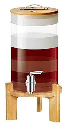 Decantador de vidrio Personalidad vino de la jarra y vasos, decorado con whisky de garrafa barril, con soporte de madera y la tapa, grifo, alta resistencia a la temperatura, for el vino tinto vodka ce