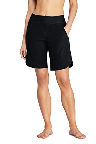 Lands' End Womens Comfort Waist 9in Swim Short Panty New Black Regular 14