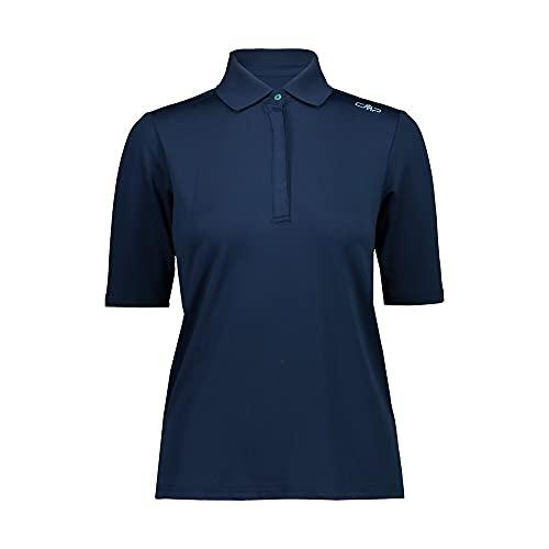 CMP 30T5026 Camiseta de Mujer Piquet Polo Sport Outdoor, Azul, 40, Turquesa