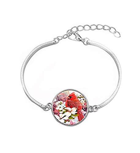 Sunshine Northern Cardinal Bird Pulsera, joyería de cristal de cúpula, regalo para ella