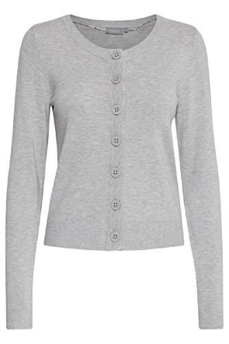 fransa Damen Strickjacke Zuvic 71 Cardigan, Größe:38 (Herstellergröße M), Farbe:Grau (Light Grey 67971)