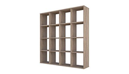 Polini Home Raumteiler Bücherregal Regal Eiche 16 Fächer