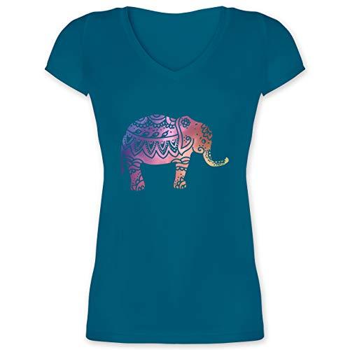 Kunst & Kreativität - Elefant Namaste - M - Türkis - Elefanten Shirt Damen - XO1525 - Damen T-Shirt mit V-Ausschnitt