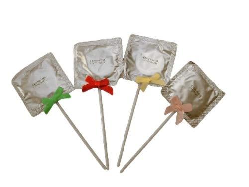 wuselwelt (5555), 10 Stück Kondomlutscher mit Schleifchen, Scherzartikel, der Partyknaller, Darf auf keiner Party fehlen, Junggesellenabschied oder Junggesellinnenabschied, Polterabend, usw