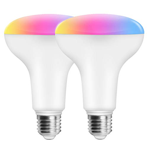 Magic Hue 11W (100w Equivalent) WiFi Smart BR30 Flood Light Bulb, Dimmable RGBCW Multicolor Wide Flood Light for Recessed Can Use, Compatible with Alexa Google Home and Siri (2Pack)