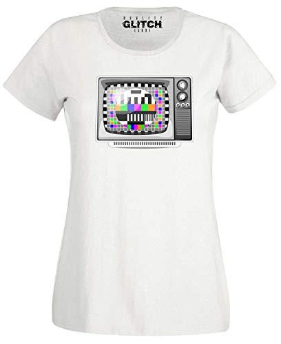 Ladies Retro TV Set and Test Card T-shirt, White, S to XXL