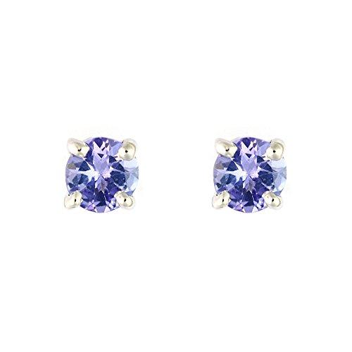 Ivy Gems Pendientes de Oro Blanco de 9k con Esmeralda para Mujer, Azul (Tanzanite)