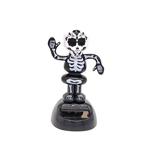 Amosfun 2 Piezas Halloween Solar Bobble Skeleton kopfschütteln Bailar Spielzeugfiguren Auto Armaturenbrett Decoraciones Halloween Party favorecida Regalos Proporciona