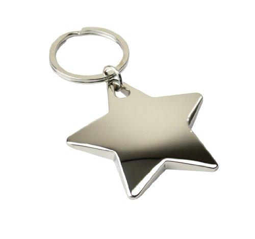 eBuyGB Schlüsselanhänger in Sternform, Weihnachtsstrumpffüller, Metall, glänzender Stern
