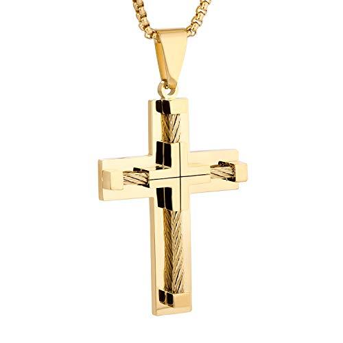 YL Kreuz Kette Edelstahl mit vergoldeten Jesus Christus Anhänger Halskette für Herren, 60cm Runde Kastenkette