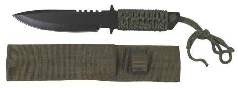 MFH - Messer mit feststehender Klinge, schwarz mit Griff aus Nylonband - 44494