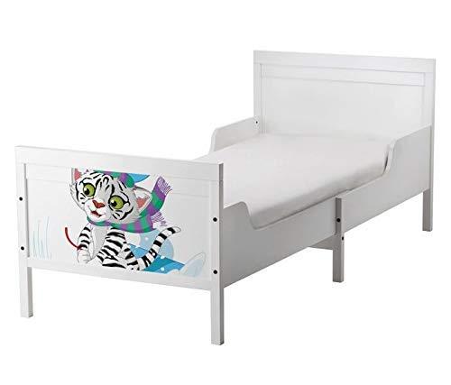 Set Möbelaufkleber für Ikea SUNDVIK Bett Schlafzimmer Kinderzimmer Cartoon Katze Kater Sport Kat2 Schnee Winter Snowboard Schi SU2 Aufkleber Möbelfolie sticker (Ohne Möbel) Folie 25U2610