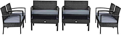 YRRA 4-PCs Wicker Patio Konversation Möbel Set Outdoor Rattan Stuhl und Tisch Set Patio Möbel Sets mit Couchtisch & Waschbare Kissen (1 schwarz)-2_Schwarz