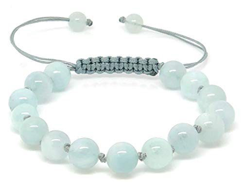 Jiveli Aquamarine Gemstone Bracelet 8mm Beads with knots in between and adjustable Macrame - for energy balance and fashion wear
