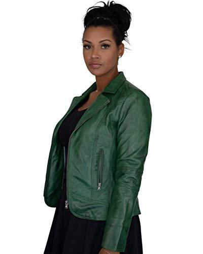 COCO BLACK LABEL since1986 Kurze Damen Jacke mit Reverskragen Lederjacke Klassische Lederjacke Mariana, Farbe:Prime Grün, Größe:34