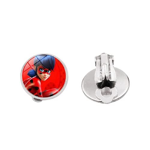 Pendientes de aro con diseño de dibujos animados de anime y cabujón de dibujos animados de cristal transparente de color plateado para mujeres joyas