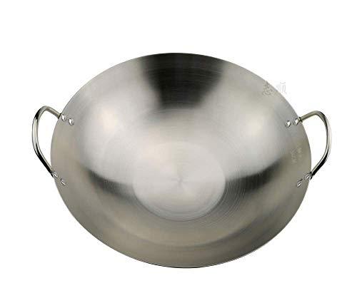 LPXPLP Pentole da Cucina Wok Non Rivestito Padella per Wok Grande Professionale Padella per Padella con Manico Wok Multifunzione in Acciaio Inossidabile 46 cm