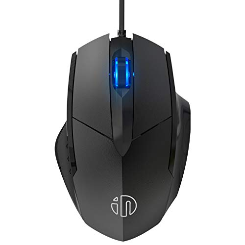 inphic Maus mit USB Kabel, Silent Click und 1200 DPI Optischer Sensor, 3-Tasten Büro Leise Maus für Laptop PC Computer, MacBook, Tablet - Schwarz