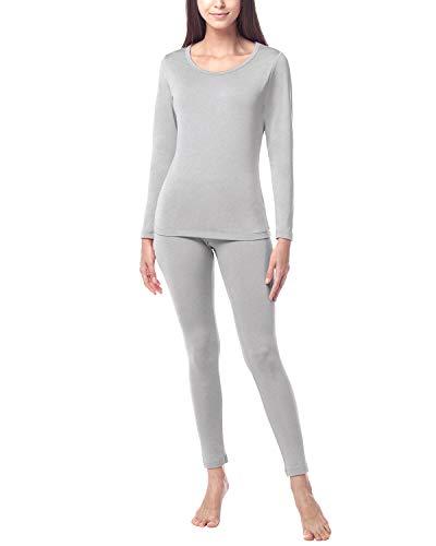 LAPASA Donna Set Termico Invernale Ad Alta Densità Completo Termico T-Shirt Maniche Lunghe & Pantaloni Invernali Heavyweight L44 (XX-Large, Grigio Chiaro)