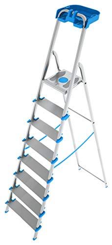 Colombo scala in alluminio 8 gradini XL con porta oggetti, 100% alluminio anodizzato