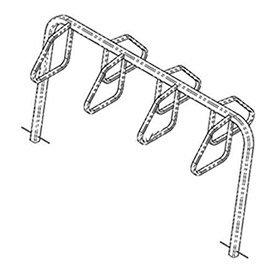 City Bicycle Rack, Double Sided, Below Grade Mount, 7-Bike