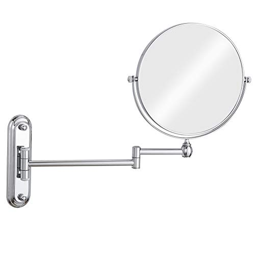 GURUN 10x Magnification Wall Mounted Mirror Swing ArmTwo Sided,8 Inch, Solid Bathroom -