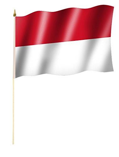 Stockflagge/Stockfahne INDONESIEN Flagge/Fahne ca. 30 x 45 cm mit ca. 60cm Stab/Stock