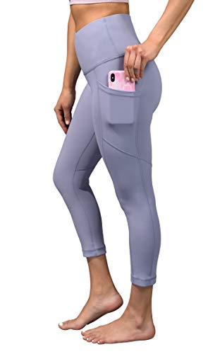 90 Degree By Reflex High Waist Squat Proof Yoga Capri Leggings with Side Phone Pockets - Blue Moon - XS