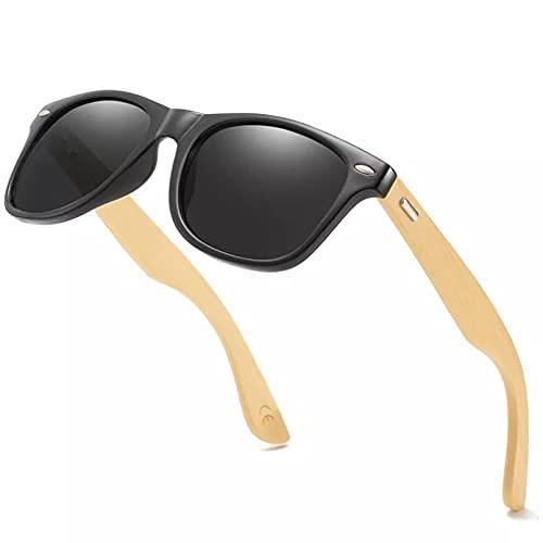 SHEANAON Gafas de Sol de bambú de Color para Hombre Gafas de Sol de Madera para Mujer Gafas de Sol de Madera Originales con Espejo