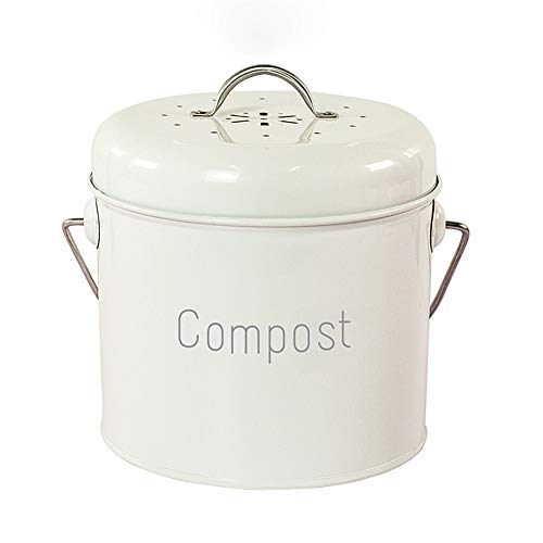 Compost Bin for Kitchen Counter Kitchen Pail with Activated Charcoal Filters Compost Bucket Indoor Odorless Countertop Compost Container Rust Proof Compost Kitchen Bin with Lid(08 Gallon )