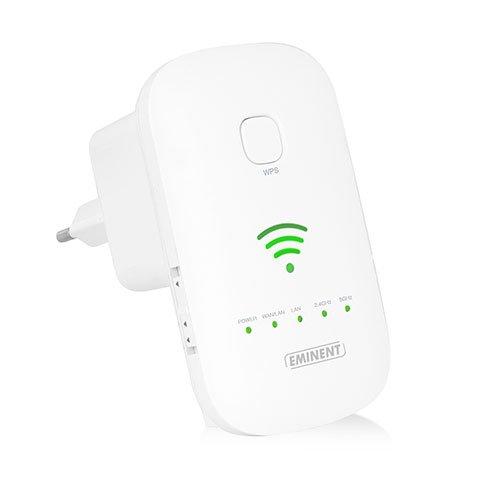 Eminent EM4597 Ripetitore Range Extender Universale Wi-Fi AC1200, Doppia Banda, Acces Point e Router, 2 Porta Ethernet 10 100 Mbps, Pulsante WPS, Bianco