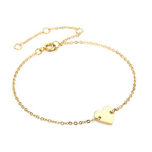 Damen Armband Minimalist Anhänger,Armreif 14K vergoldet Mode Schmuck Geschenke für Frauen Women Bracelet( Gold )