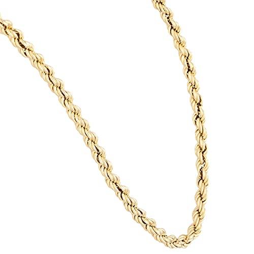 Jollys Jewellers Cadena de oro amarillo de 9 quilates para mujer, cadena de cuerda de 40,6 cm (3 mm de ancho)