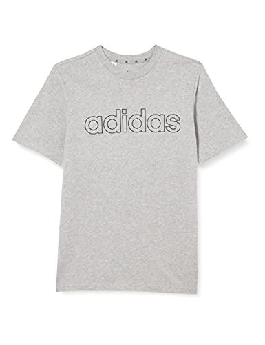 adidas B Lin T T-Shirt, Boys, Medium Grey Heather/Bold Blue, 1314