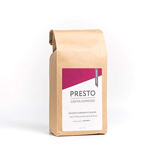 Presto Crema Espresso - Mitteldunkel Geröstete Kaffeebohnen für den Perfekten Latte Macchiato - Zart und Cremig - 1KG
