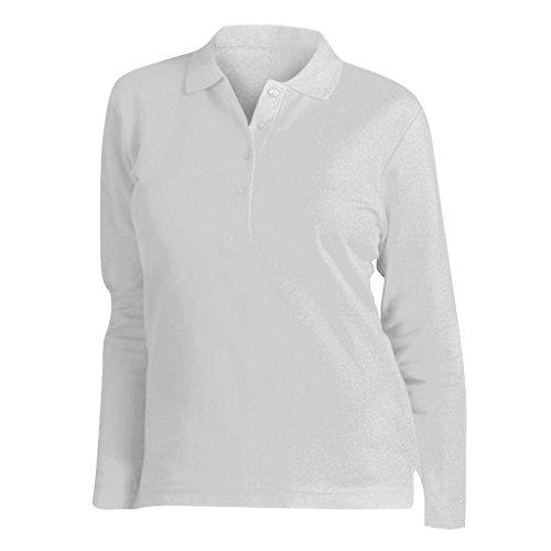 SOLS - Polo Maniche Lunghe 100% Cotone - Donna (M) (Bianco)