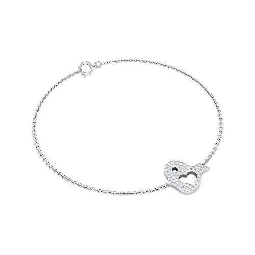 Pulsera con forma redonda HI-SI 1/4 CT certificada con diamantes delicados, moderna, elegante, única, de oro sólido, para mujeres, pulseras de boda, 14K Oro blanco 7 Inches