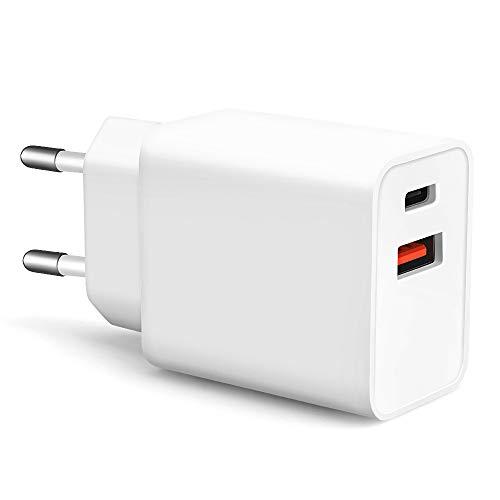 KONKY Doble Puerto Cargador USB Rápido Quick Charge 3.0 with Power Delivery, Cargador de Pared USB para MacBook/Pro,Samsung, Google Pixel XL, iPhone XS/XS MAX/XR, LG, Huawei, Nexus, HTC, iPad y Más