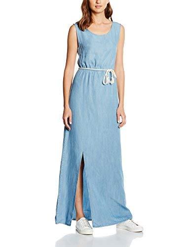 Tommy Jeans Long Dress Dril Vestido, Azul (Drapey Indigo Light), 40 para Mujer
