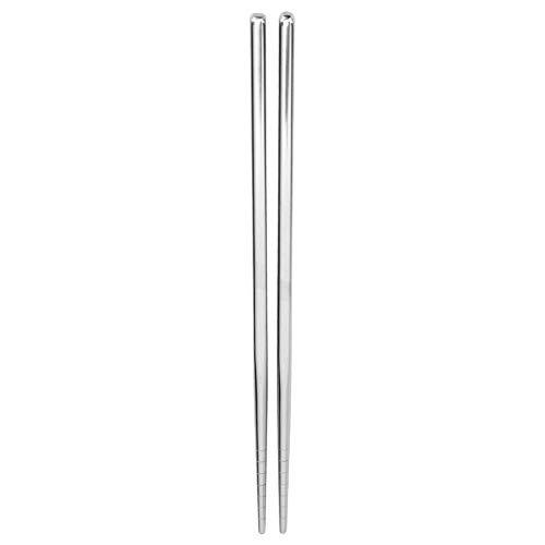 CML 1 par de palillos reutilizables de acero inoxidable de metal antideslizantes, juego de palillos reutilizables para alimentos y vajilla ecológica (color plata)