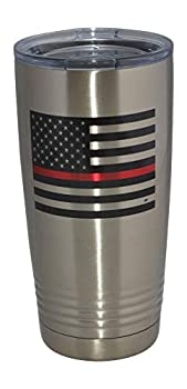 Thin Red Line Flag Firefighter 20 Oz Travel Tumbler Mug Cup w/Lid Vacuum Insulated Fire Fighter Department FD Fireman Gift