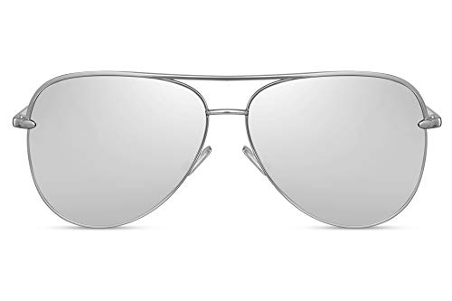 Cheapass Gafas de Sol Grandes Metálicas Gafas Piloto Mujer Montura XL Oversize Plateada con Cristales Plateados Espejados UV400