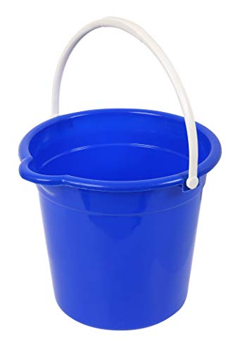 Superio Plastic Round Bucket with Grip Handle, 10 Liter with Spout Cleaning Pail Blue, Home Floor Mopping, Bath, Car Wash Bucket, Bowls for Camping, Fishing