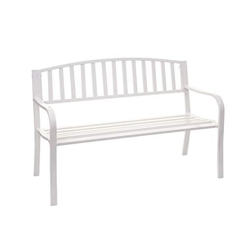 Mendler Gartenbank HWC-F43, Bank Parkbank Sitzbank, 2-Sitzer pulverbeschichteter Stahl - weiß