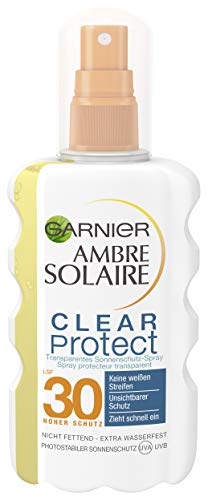 Garnier Ambre Solaire Clear Protect Transparentes Sonnenschutz Spray Hoch LSF 30, Sonnencreme Wasserfest, Rückstandsfrei, 200 ml